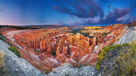 Bryce Canyon National Park Town In Utah Usa Landscape
